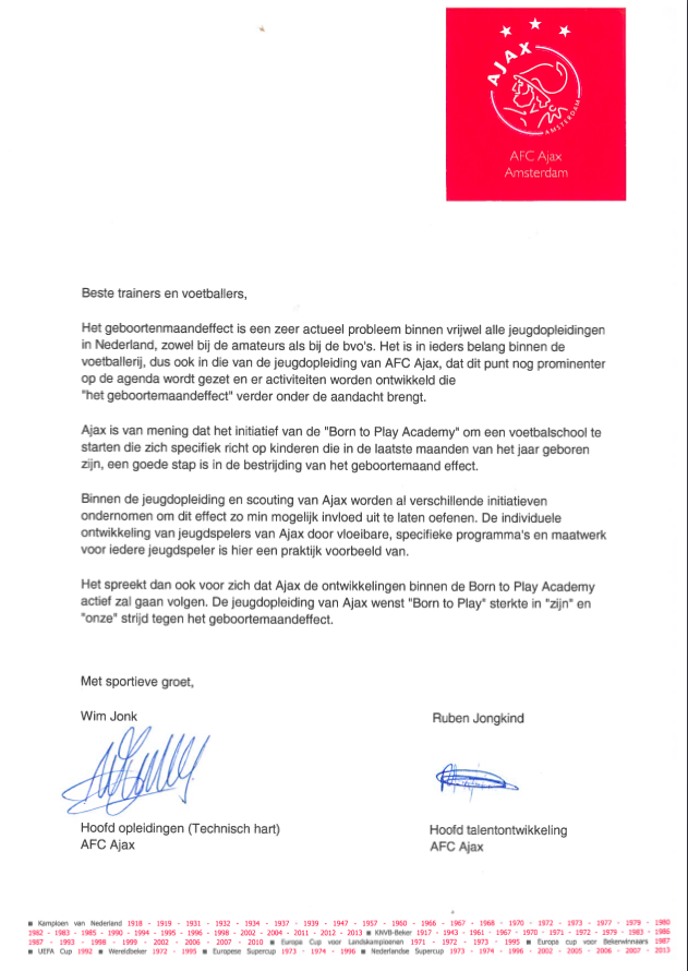 Endorsenment letter van Ajax naar Born to Play.