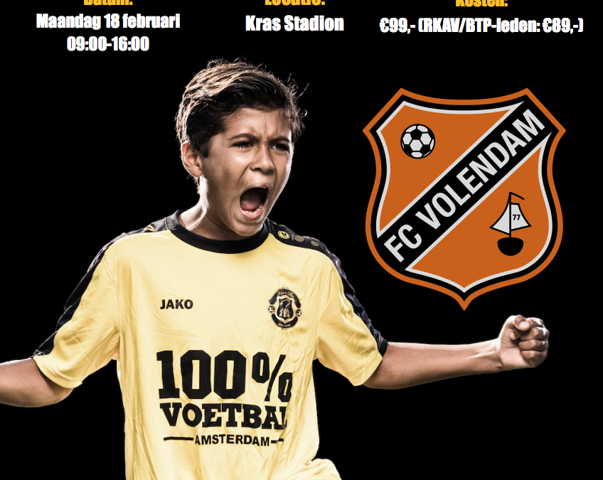 Born to Play organiseert 18 februari Clinic bij FC Volendam!!